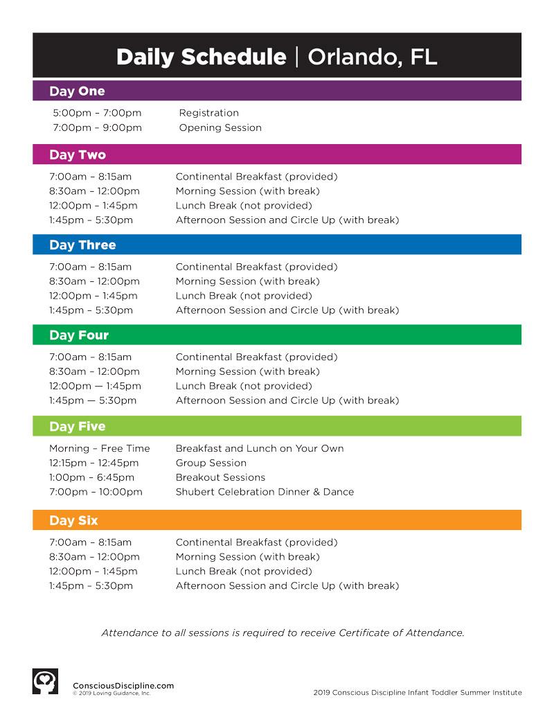 2019 Session A Schedule - Orlando