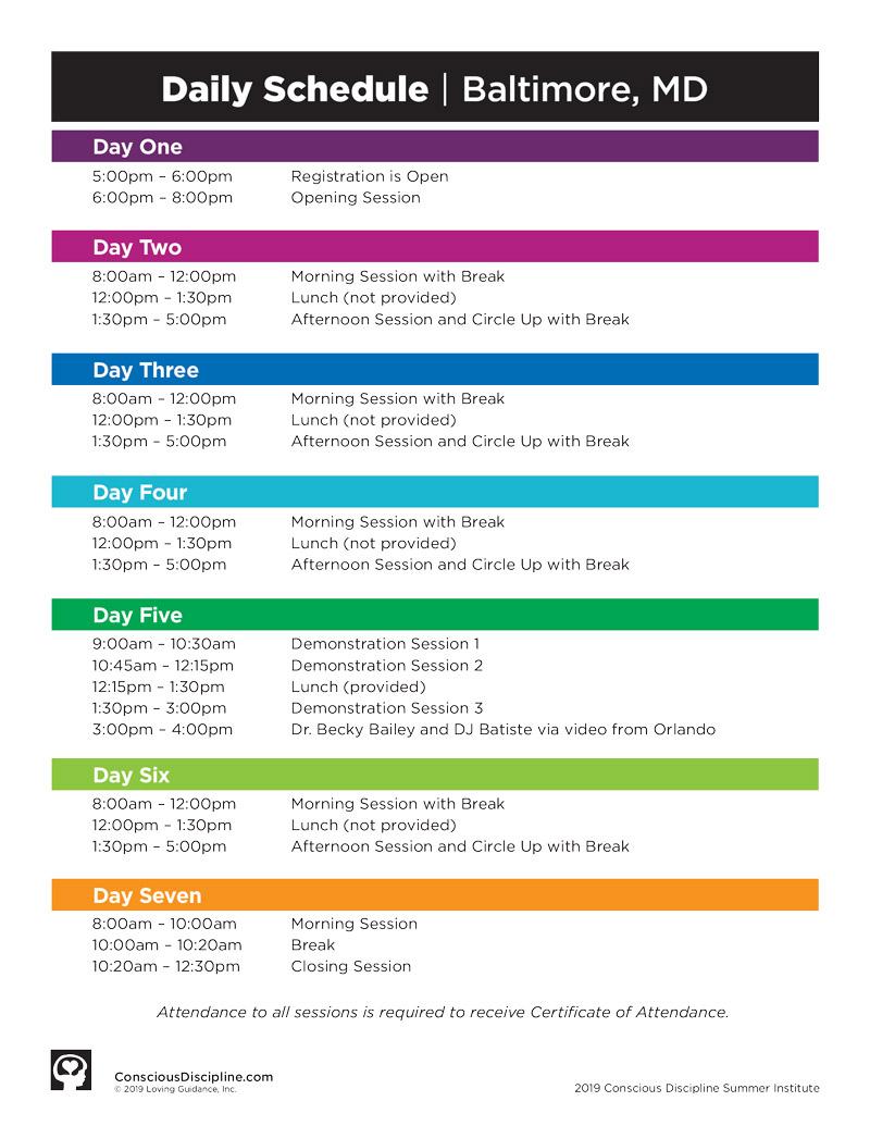 2019 Session B Satellite Schedule - Baltimore, MD