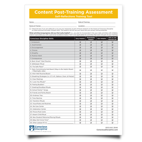 Content Post-Training Assessment Self-Reflections Training Tool