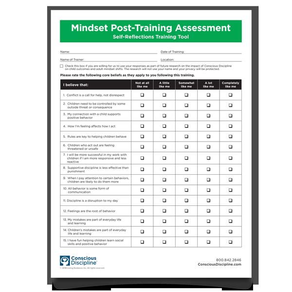 Mindset Post-Training Assessment Self-Reflections Training Tool