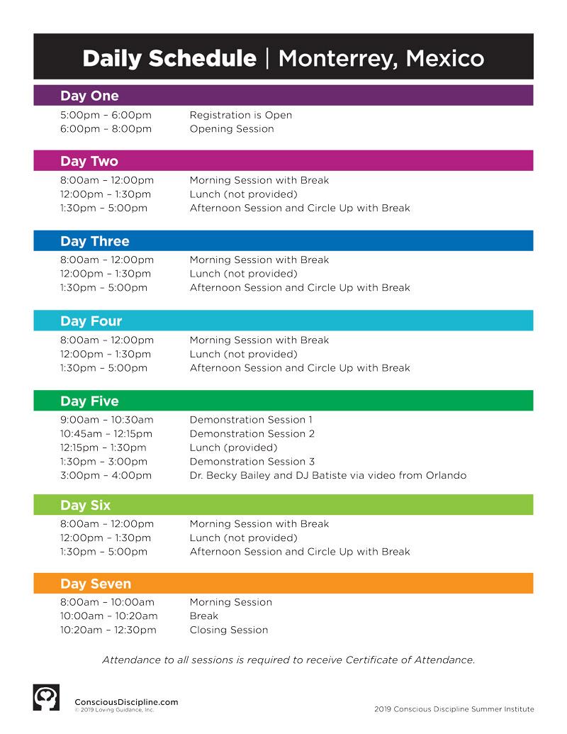 2019 Session C Satellite Schedule - Monterrey, MX