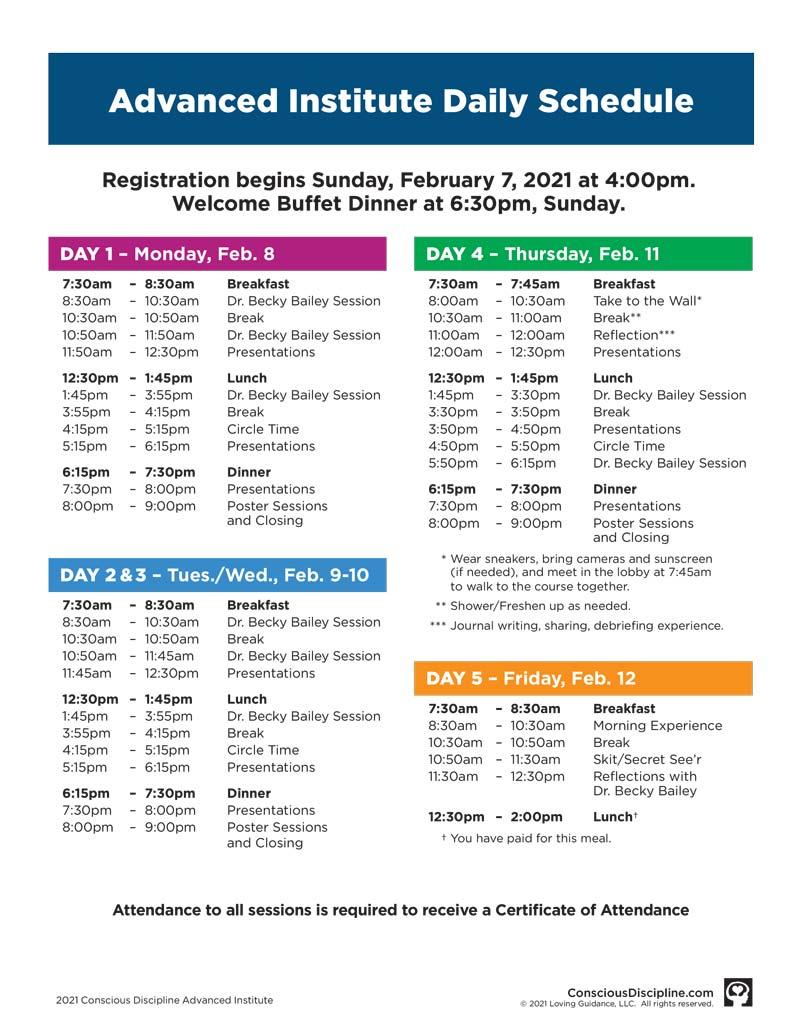 Conscious Discipline Advanced Institute 2021 Winter Schedule