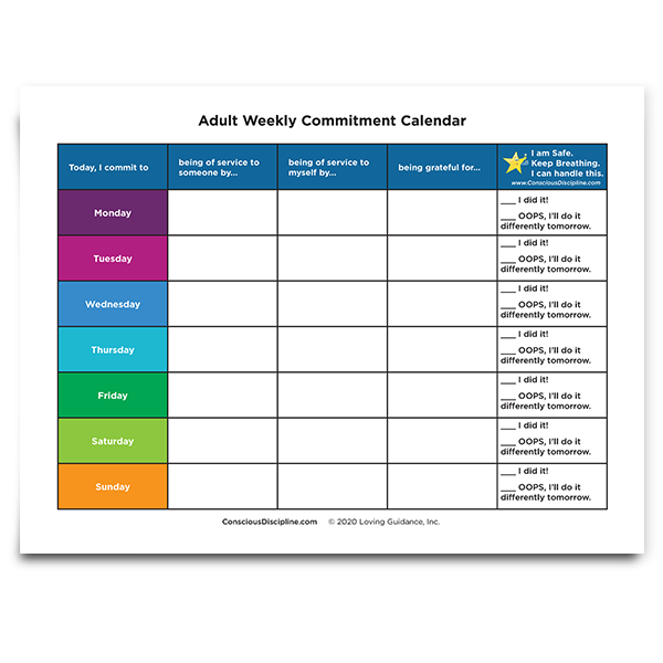 Adult Weekly Commitment Calendar