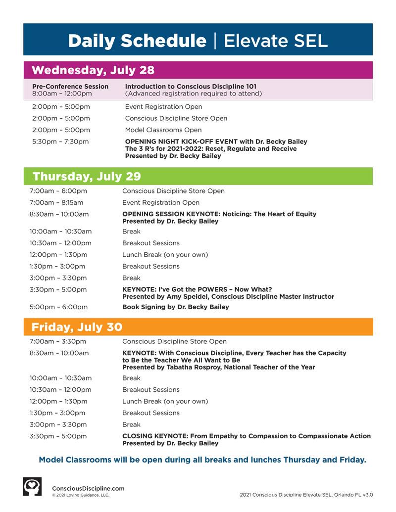 2021 Elevate Daily Schedule Orlando, FL - Pre-Conference add-on