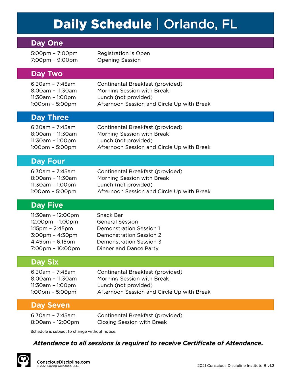 2021 Session B Orlando Institute - Event Schedule - Image