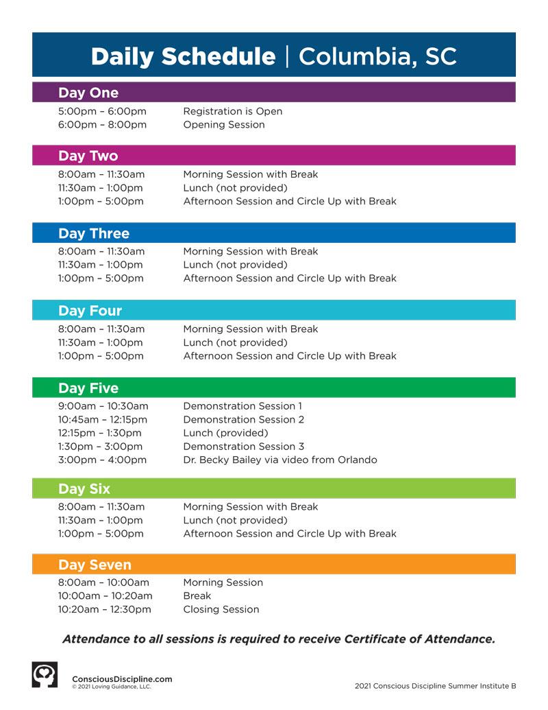 Session B: Summer Institute (CD1) 2021 Satellite - Columbia, SC - Event Schedule - image