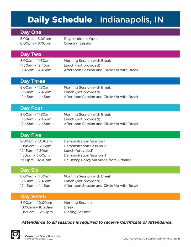 Session B: Summer Institute (CD1) 2021 Satellite - Indianapolis, IN - event schedule image