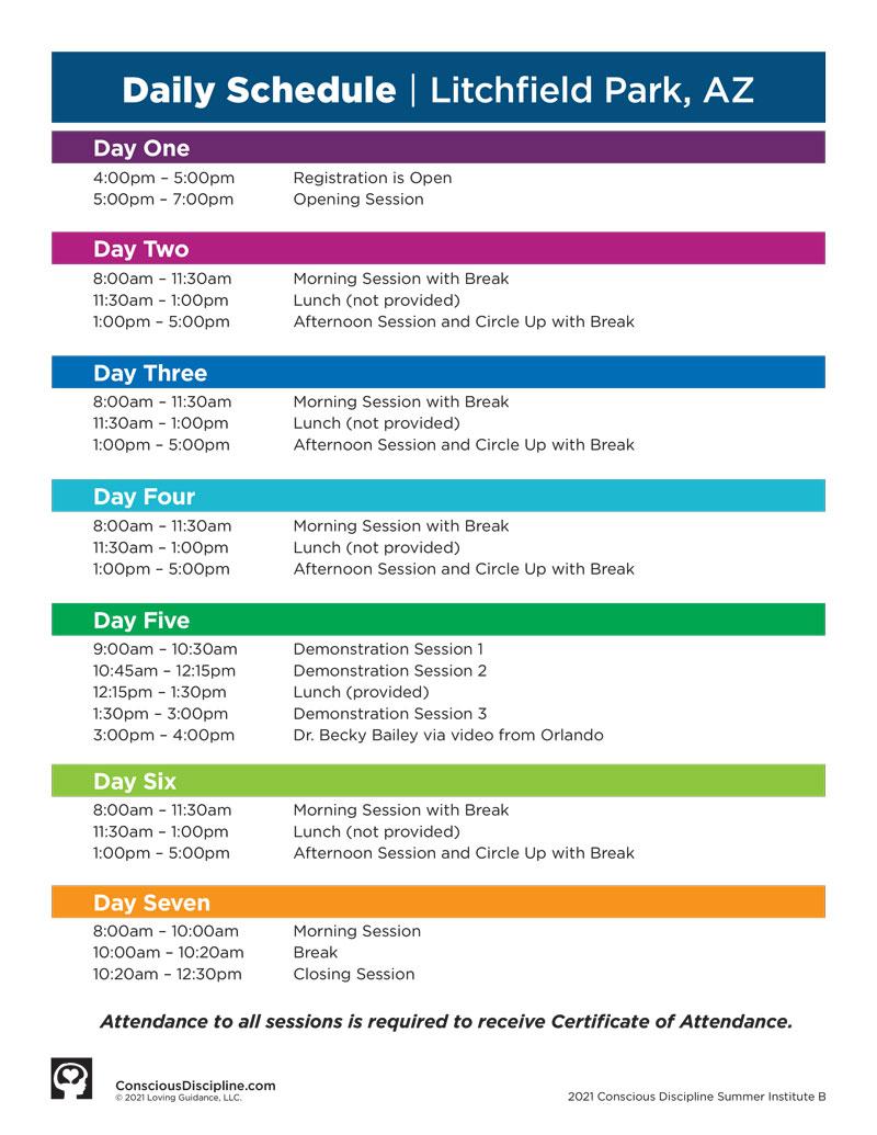 2021 Session B Satellite Event Schedule - Litchfield, AZ
