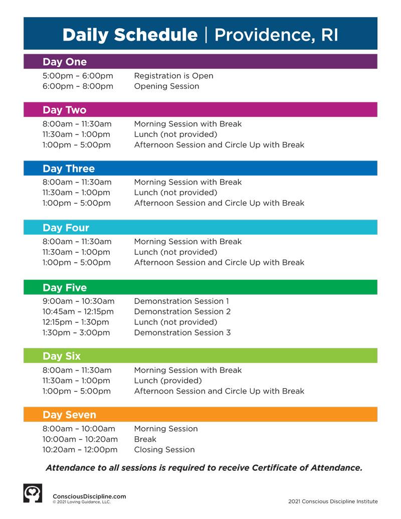 2021 Providence, RI Institute - Daily Event Schedule